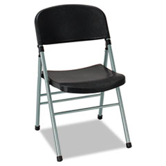 Endura Series Molded Folding Chair, Platinum Frame/Black Back/Seat, 4/Carton CSC36869PLB4