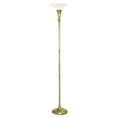 "Incandescent 3-Level Torchiere, Alabaster Shade, 68-1/2""h, Antique Brass"