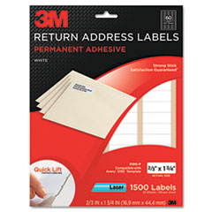 "3M Address Label - Permanent Adhesive - 0.67"" Width x 1.75"" Length - 60 / Sheet - Rectangle - Laser - White - Paper - 1 / Pack"