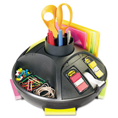 "Rotary Self-Stick Notes Dispenser, Plastic, Rotary, 10"" diameter x 6h, Black"