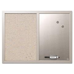 Combo Bulletin Board, Bulletin/Dry Erase, 24X18, Gray Frame