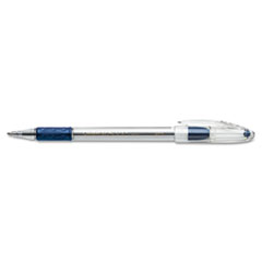 R.S.V.P. Stick Ballpoint Pen, 1mm, Trans Barrel, Blue Ink, Dozen