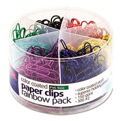 Plastic Coated Paper Clips, Assorted Colors, 300 Small Clips, 150 Giant Clips