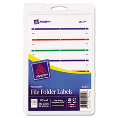 Print or Write File Folder Labels, 11/16 x 3 7/16, White/Assorted Bars, 252/Pack