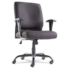 Big and Tall Swivel/Tilt Mid-Back Chair, Height Adjustable T-Bar Arms, Black
