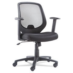 Swivel/Tilt Mesh Mid-Back Chair, Height Adjustable T-Bar Arms, Black