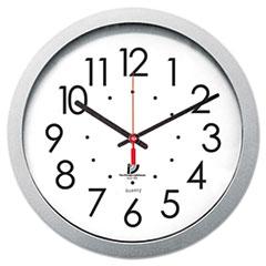 """Quartz Flat Rim Clock, 14-1/2"""", Silver"""