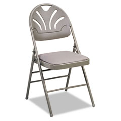 Fabric Padded Seat/Molded Fan Back Folding Chair, Kinnear Taupe, 4/Carton