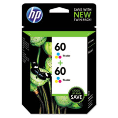 HP 60, (CZ072FN) 2-pack Tri-color Original Ink Cartridges