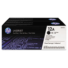 HP 12A, (Q2612D) 2-pack Black Original LaserJet Toner Cartridges