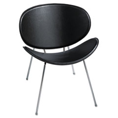 Sy Leather Guest Chair, Black