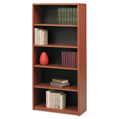 Value Mate Series Metal Bookcase, Five-Shelf, 31-3/4w x 13-1/2d x 67h, Cherry