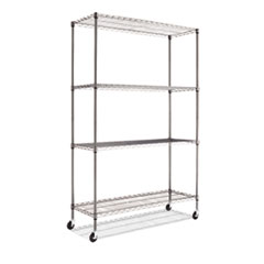 Complete Wire Shelving Unit w/Caster, Four-Shelf, 48 x 18 x 72, Black Anthracite