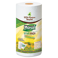 Small Steps 100% Recycled Roll Towels, 5 3/4 x 11, 140/Roll, 24 Rolls/Carton