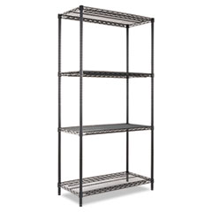 NSF CERTIFIED INDUSTRIAL WIRE SHELVING KIT, 4 SHELF, BLACK,