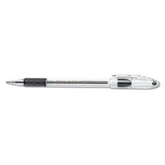 R.S.V.P. Stick Ballpoint Pen, 1mm, Trans Black Barrel, Black Ink, Dozen