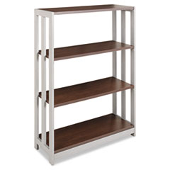 Trento Line Bookcase, Three-Shelf, 31-1/2w x 11-5/8d x 43-1/4h, Mocha
