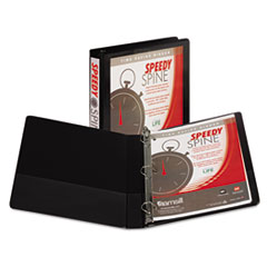 "Speedy Spine Heavy-Duty D-Ring View Binder, 11 x 8 1/2, 1"" Cap, Black"