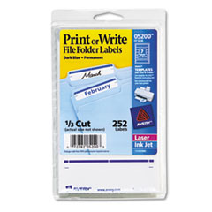 Print or Write File Folder Labels, 11/16 x 3 7/16, White/Dark Blue Bar, 252/Pack