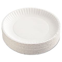 "Paper Plates, 9"" dia, White, 100/Pack, 12 Packs/Carton AJMPP9GRAWH"