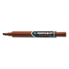 Marks-A-Lot Large Desk-Style Permanent Marker, Chisel Tip, Brown, Dozen