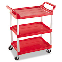 Service Cart, 200-lb Cap, Three-Shelf, 18-5/8w x 33-5/8d x 37-3/4h, Red RCP342488RED
