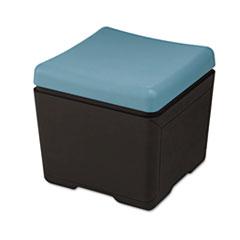 OTTO File Ottoman, 18w x 18d x 17-1/4h, Aqua/Black ICE64536