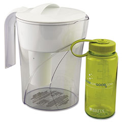 Classic Teem-Through Pitcher, 48oz, w/Bonus 16oz Water Bottle, 4/Carto