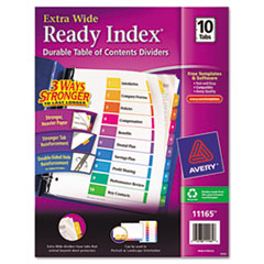 MotivationUSA * Extra-Wide Ready Index Dividers, 10-Tab, 9 1/2 x 11, Assorted, 10/Set at Sears.com