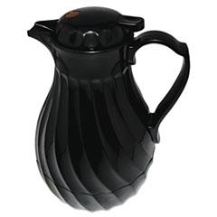 Poly Lined Carafe, Swirl Design, 64oz Capacity, Black