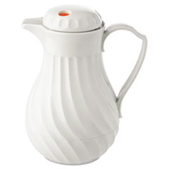 Poly Lined Carafe, Swirl Design, 64oz Capacity, White