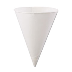 KONIE 6OZ ROLLED RIM PAPER CONE CUP WHITE POLY BAGGED