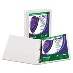 "Clean Touch Locking D-Ring View Binder, Antimicrobial, 1"" Cap, White"