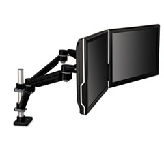 Easy-Adjust Dual Monitor Arm, 4 1/2 x 25 1/2, Black/Gray