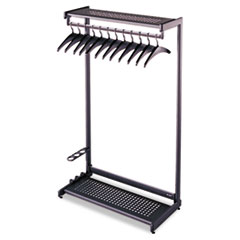 "Single-Side, Garment Rack w/Two Shelves, Eight Hangers, Steel, 24"" Wide, Black"