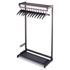 Single-Side, Garment Rack w/Two Shelves, Eight Hangers, Steel, Black QRT20222