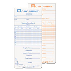Weekly Time Cards for ATR240 and ATR360, 250/Pack ACP097000000