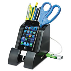 Smart Charge Pencil Cup with USB Charging Hub, Black