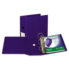 "Clean Touch Locking D-Ring Reference Binder, Antimicrobial, 5"" Cap, Blue"