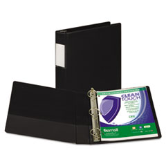"Clean Touch Locking D-Ring Reference Binder, Antimicrobial, 1 1/2"" Cap, Black"