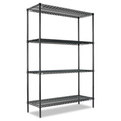 All-Purpose Wire Shelving Starter Kit, 4 Shelves, 48w x 18d x 72h, Green ALESW204818GN