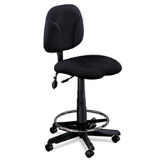 Swivel Task Stool, Black Fabric