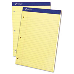 Double Sheet Pad, Legal/Legal Rule, 8 1/2 x 11 3/4, Canary, Perfed, 100 Sheets TOP20243