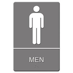 ADA Sign, Men Restroom Symbol w/Tactile Graphic, Molded Plastic, 6 x 9, Gray USS4817