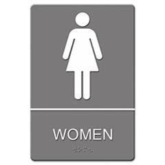 ADA Sign, Women Restroom Symbol w/Tactile Graphic, Molded Plastic, 6 x 9, Gray USS4816