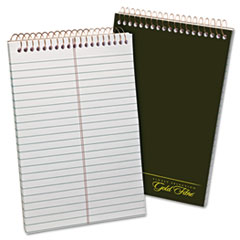 Gold Fibre Spiral Steno Book, Gregg, 6 x 9, White/Green, 100 Sheets TOP20806