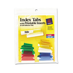 Insertable Index Tabs with Printable Inserts, 1, Assorted Tab, 25/Pack