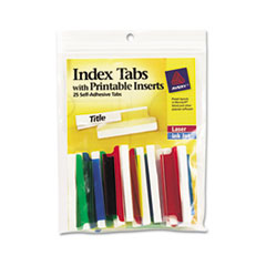 Insertable Index Tabs with Printable Inserts, Two, Assorted Tab, 25/Pack