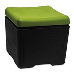 OTTO File Ottoman, 18w x 18d x 17-1/4h, Green/Black ICE64538