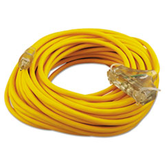 Polar/Solar Outdoor Extension Cord, 100ft, Three-Outlets, Yellow